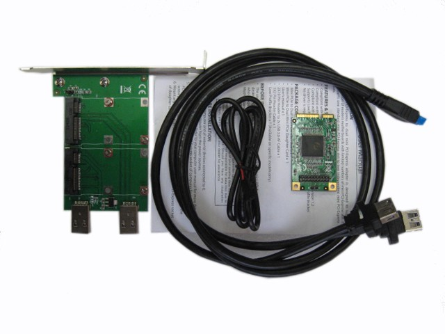 Адаптер Bridge Mini PCI-Express to Mini PCI-Express x 2, SE-MANL-MCV02A-EN-1, другое фото